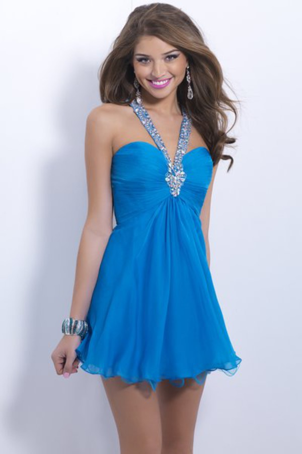 halter neck dress blue cocktail dress chiffon dress backless dress beaded dress