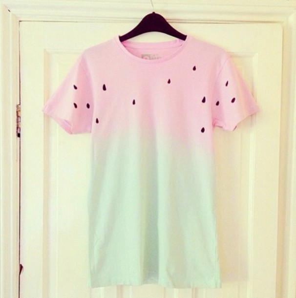 T-shirt: watermelon print, pink, green, pastel, ombre, ombre top ...