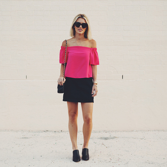 so sage blogger top skirt sunglasses bag off the shoulder pink top mini skirt black skirt black bag shoulder bag black flats pink blouse date outfit summer outfits