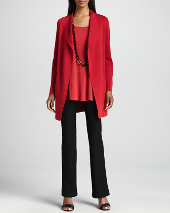 Eileen Fisher Twist-Knit Mohair-Blend Long-Sleeve Top, Silk-Jersey Long Slim Camisole & Pleated Jersey A-Line Skirt - Neiman Marcus