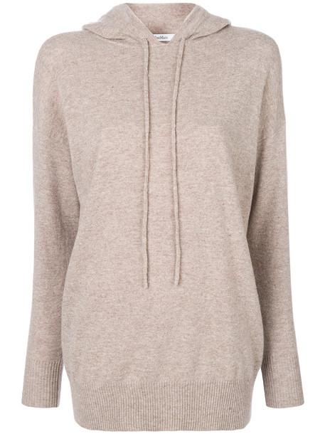 Max Mara hoodie women nude wool sweater