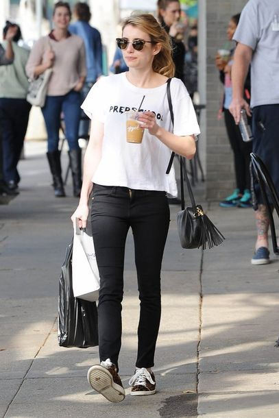 sneakers emma roberts isabel marant white t-shirt fringed bag