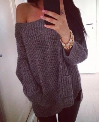 sweater oversizedsweater jewels top grey sweater blouse off shoulder top
