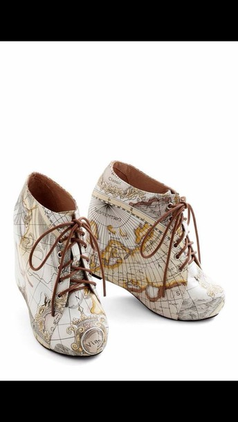 shoes map print platform shoes