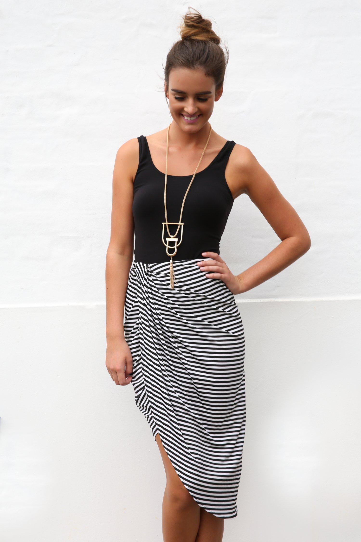 Black Prints Skirt - Black and White Striped Asymmetrical | UsTrendy