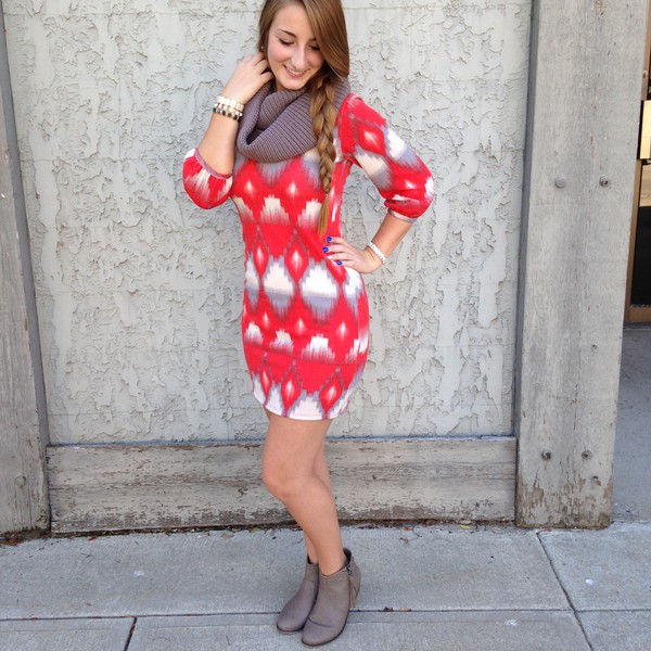 sweater dress fall outfits scarf shoes jewels