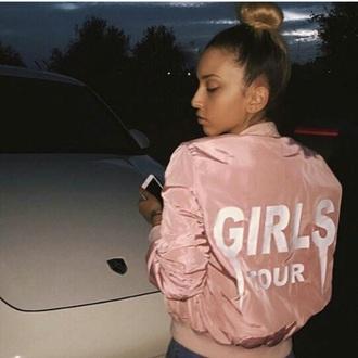 jacket tumblr girl pink bomber jacket girly drake stylish