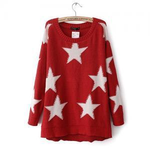 European Style Cute Sweet Star Knit Sweater [grxjy560509] on Luulla