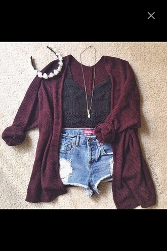 cardigan necklace red cardigan crop tops top lace crochet crochet crop top denim shorts ripped shorts outfit festival fall outfits tank top hair accessory