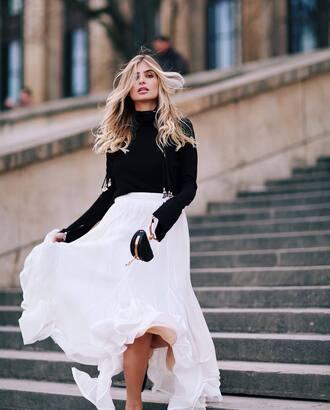 skirt tumblr maxi skirt long skirt white skirt top black top turtleneck black turtleneck top bag black bag mini bag blonde hair long hair
