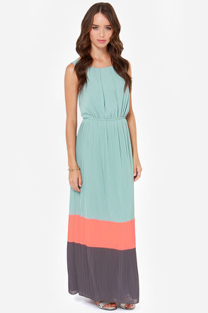 Darling Justina Dress - Seafoam Dress - Maxi Dress - Color Block - $95.00