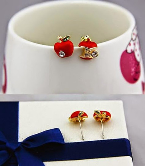 beautiful jewels fashion earrings lady jewelry red apple stud earrings red earrings red jewelry red jewels fashion girl fashion trendy trending popular wonderful