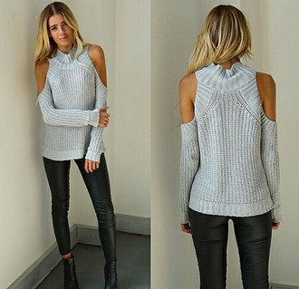 sweater knit knitted knitted sweater grey sweater girl girly fashion grunge turtleneck knitted cropped shirt top