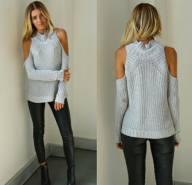 Sweater: knit, knitwear, knitted sweater, grey sweater, girl ...