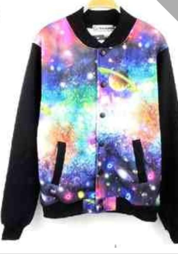 jacket galaxy print long sleeves black colorful