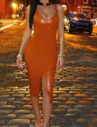 dress glamour orange leather sexy fashion summer viva las vegas faux leather slit dress slit bodycon bodycon dress leather dress midi midi dress party dress sexy party dresses sexy dress party outfits sexy outfit summer dress summer outfits spring dress spring outfits fall dress fall outifts winter dress winter outfits classy dress elegant dress cocktail dress cute cute dress girly girly dress date outfit birthday dress summer holidays clubwear club dress engagement party dress wedding clothes wedding guest brown brown dress