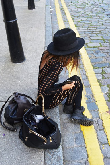 shirt grunge fishnet black tumblr tumblr girl romper hat brim hat all black purse bodysuit weheartit tumblr outfit