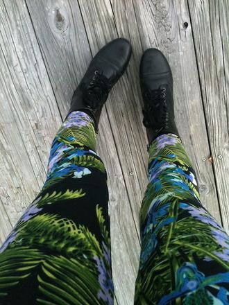 jeans pants leggings printed leggings tropical tropical print leggings tropical jeans