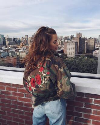 jacket tumblr embroidered embroidered jacket camouflage oversized jacket oversized denim jeans blue jeans roses floral brunette wavy hair long hair hairstyles outfit idea mom jeans camo jacket camouflage military jacket rose embroidered