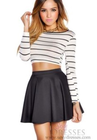 skirt shirt long sleeve crop top black and white striped crop tops black skater skirt