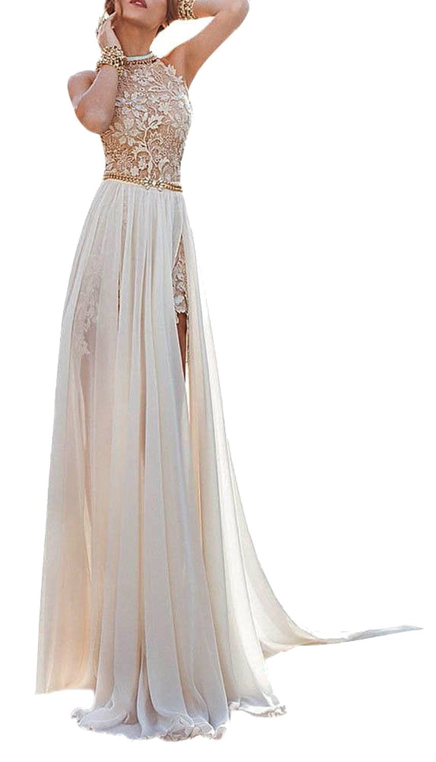 Amazon.com: Babyonline Chiffon evening Dresses Halter Beaded Crystals Lace Bodice Long Gown: Clothing