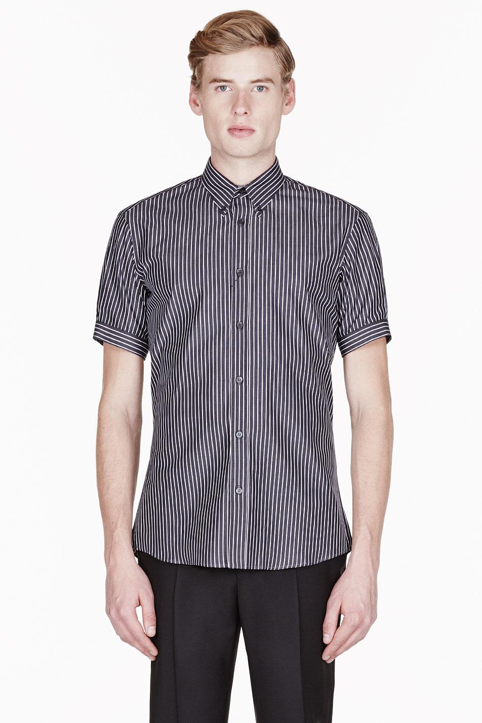 alexander mcqueen black and white pinstripe button down shirt