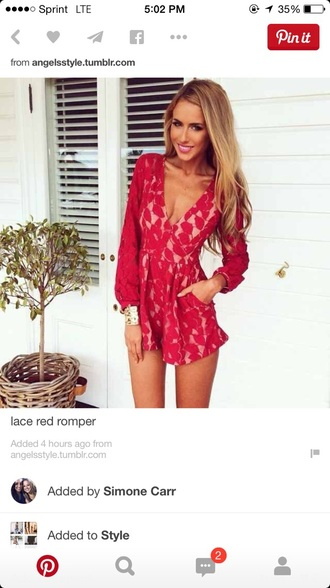 romper lace dress red dress red jumpsuit nude dress petals long sleeves
