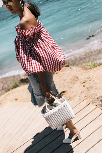the chriselle factor blogger top skirt bag sunglasses jewels basket bag denim skirt off the shoulder top summer outfits