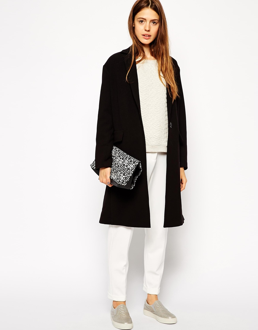 ASOS Duster Coat In Bonded Fabric at asos.com