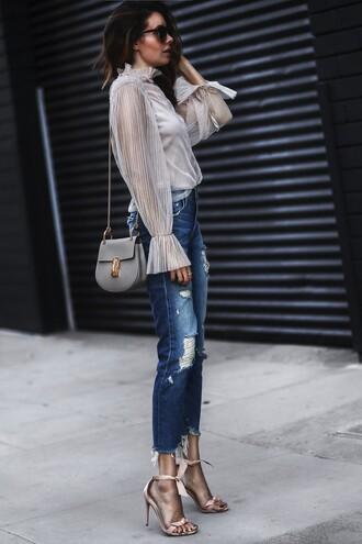 fashionedchic blogger shirt jeans shoes bag jewels blouse