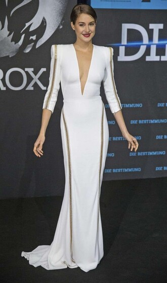 dress long v cut white dress prom dress gown shailene woodley