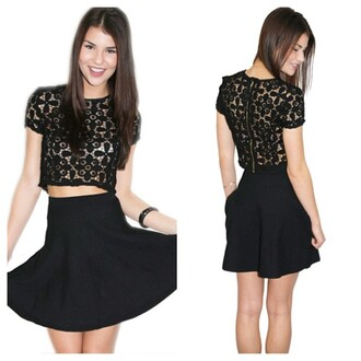 top sexy black crop top lace top dress style
