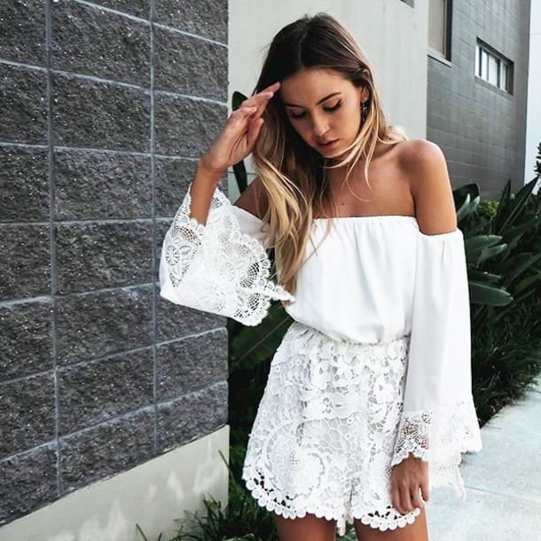6f4ec8e87cdb white dress strapless dress lace dress mini dress long sleeve dress romper  lace romper white lace