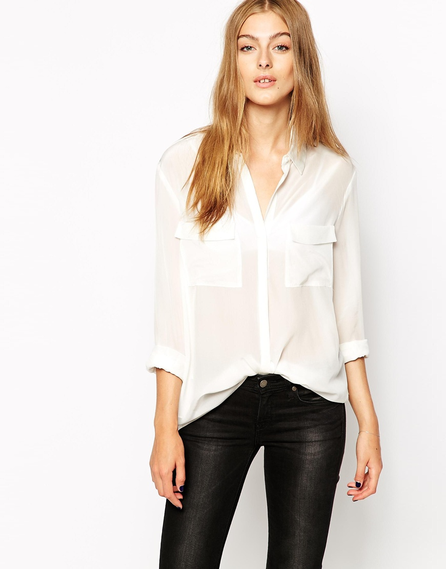 Mango Military Pocket Blouse at asos.com