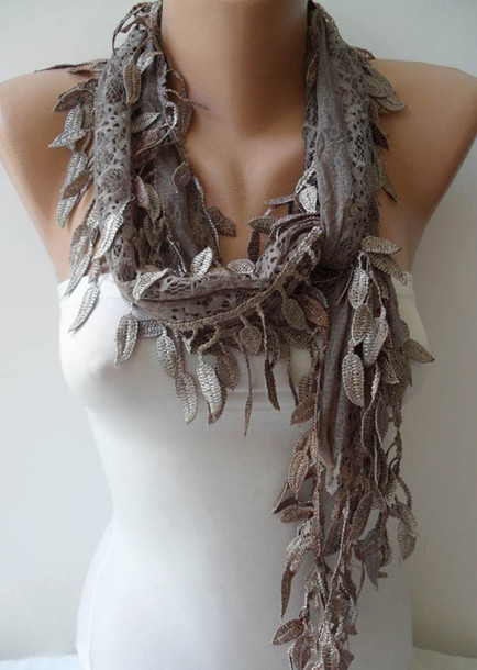 scarf, lace scarf, light brown, swedishshop on etsy ...
