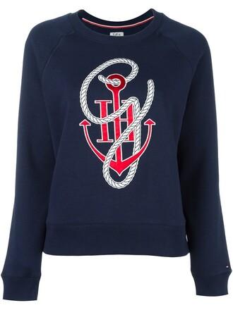 sweatshirt anchor anchor print print blue sweater