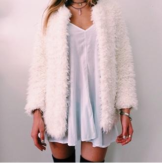 jacket white white coat fur cute tumblr white dress white jacket coat dress fur coat fur jacket faux fur jacket fashion style tumblr outfit tumblr jacket faux white fur knee high socks black socks