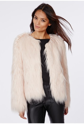 Cassie shaggy faux fur coat nude