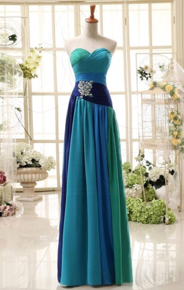 prom green blue maxi dress blouse