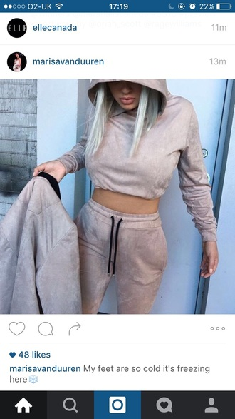 top black suade beige joggers tracksuit comfy casual