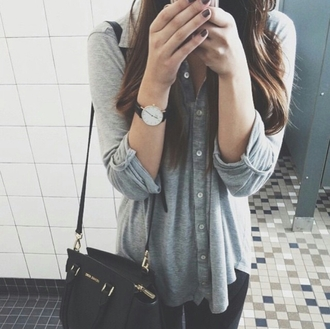 blouse on point clothing grey jersey knit daniel wellington watch casual bag black bag black stylish trendy tumblr clothes gorgeous women fashionista pretty girl beautiful blogger instagram streetstyle streetwear hipster jewels