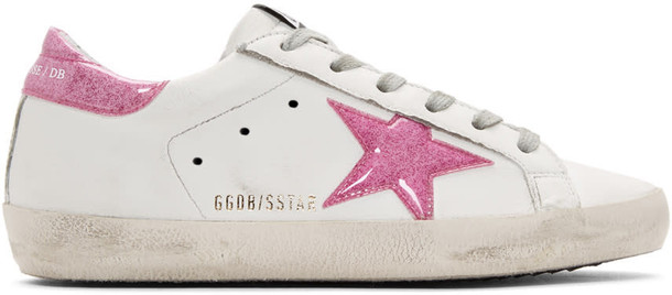 Golden goose glitter sneakers white pink shoes