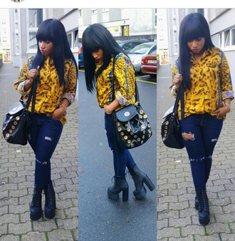 blouse versace yellow leopard print