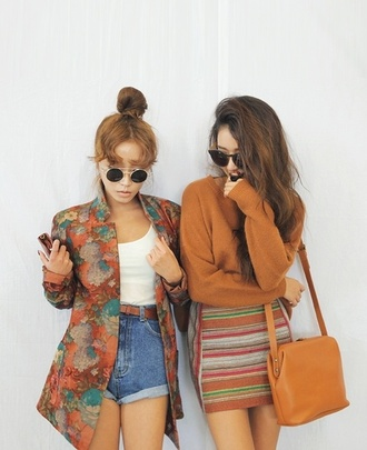 jacket chic sunglasses orange spring outfits high waisted shorts skirt purse gold bar black lense round retro blouse vintage shirt oversized floral beige tan blue violet button copper rust