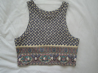 crop tops vintage clothes pattern boho indie aztec summer t-shirt cropped shirt top tribal pattern bohemian gypsy crop gypsy style long pink maxi tank top hipster