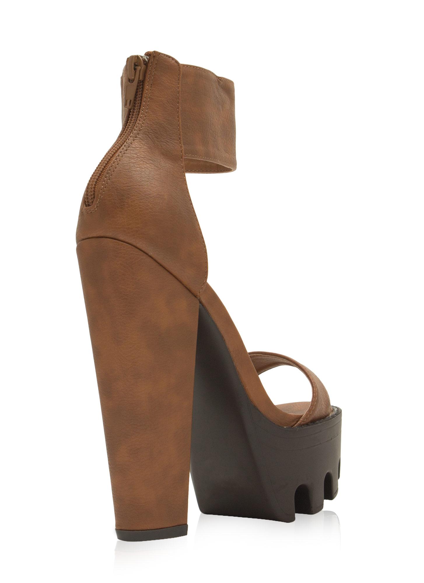 Be A Lady Chunky Ankle Cuff Heels COGNAC LEOPARD BLACK - GoJane.com