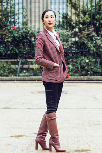 the chriselle factor blogger leather pants blazer office outfits dusty pink leather boots fall outfits