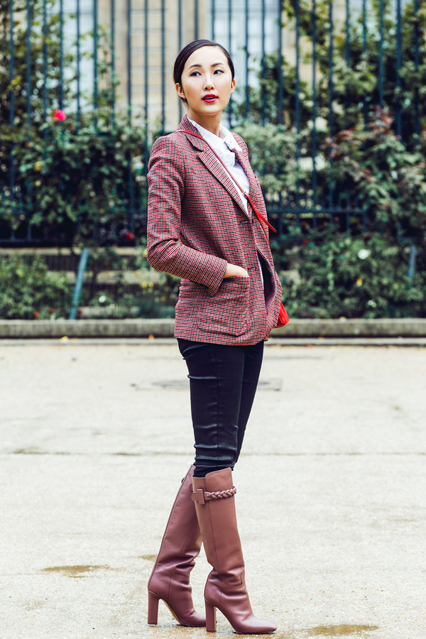 Pants the chriselle factor blogger leather pants blazer office outfits dusty pink leather ...