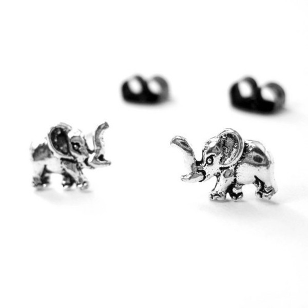 jewels earrings elephant silver studs