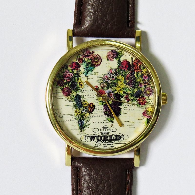 the world in bloom map floral vintage style